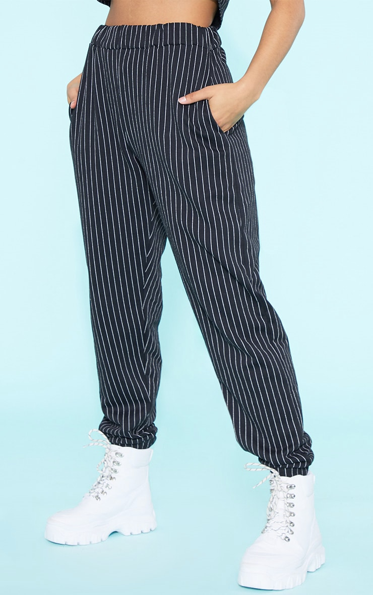 RECYCLED Black Pinstripe Jogger 5