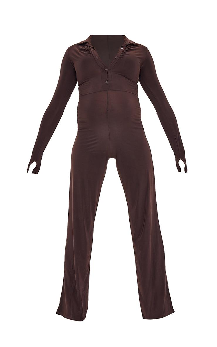 Maternity Chocolate Slinky Button Through Collar Jumpsuit 5