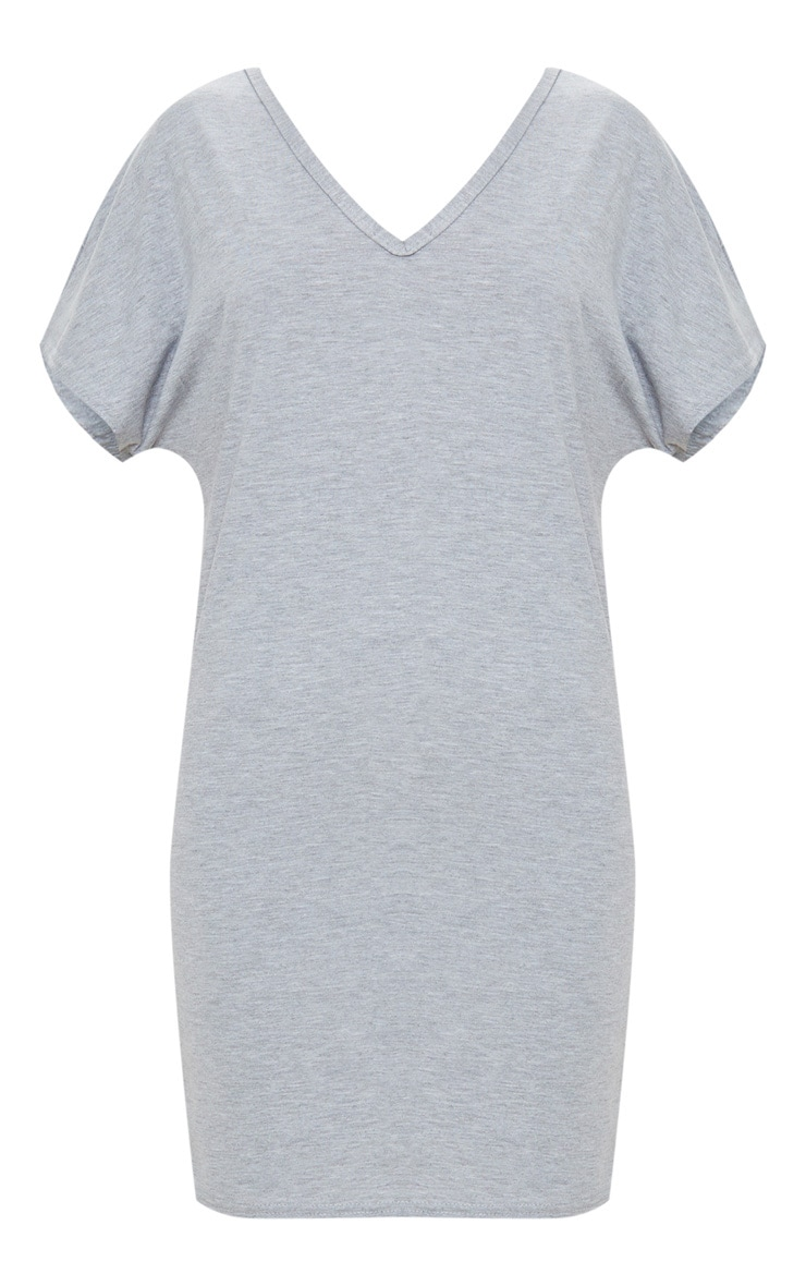 Basic Grey V Neck T Shirt Dress 3