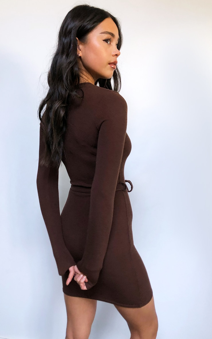 Chocolate Rib Long Sleeve Tie Waist Bodycon Dress 2