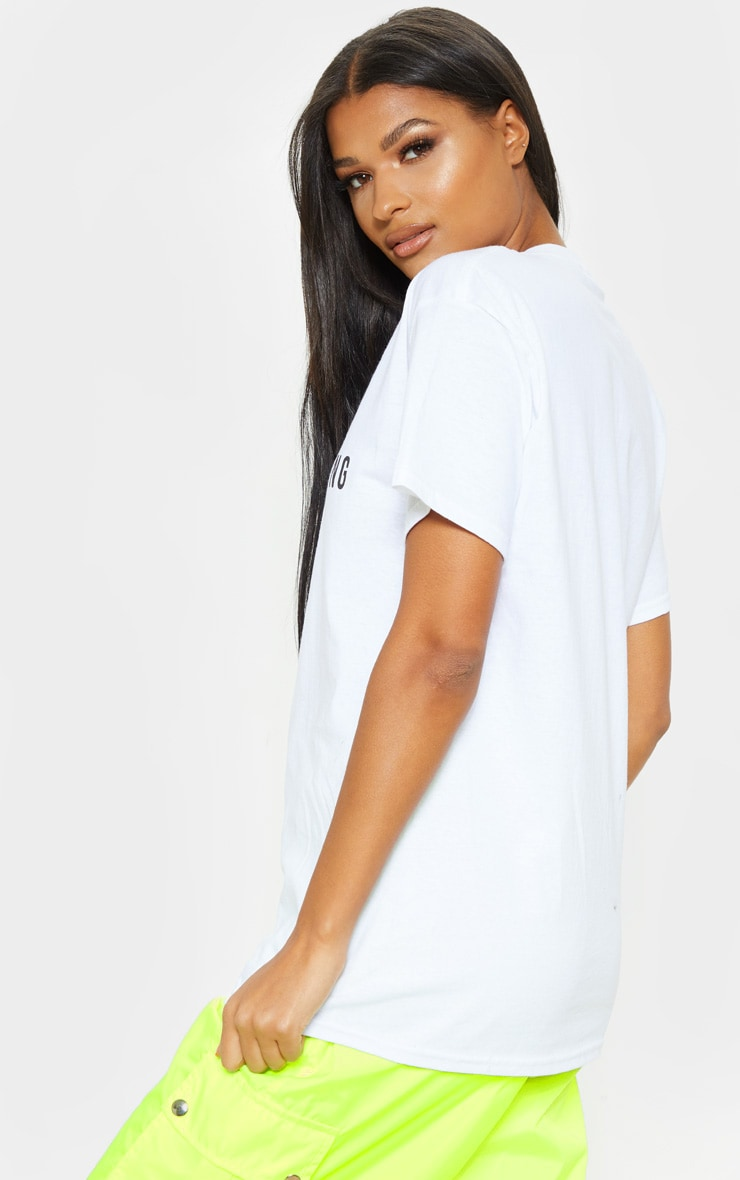 PRETTYLITTLETHING White Print Oversized T Shirt 2