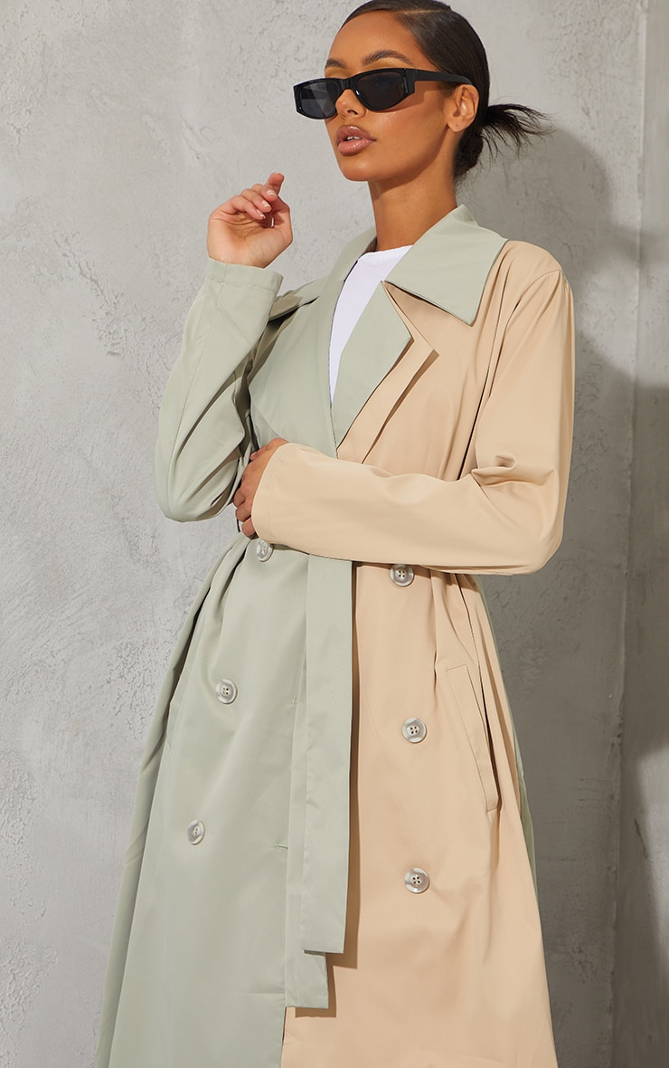 Khaki Woven Contrast Belted Midi Trench 4