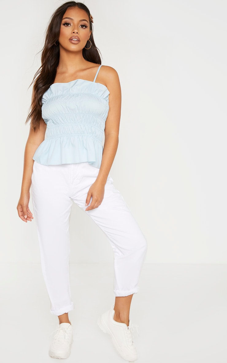 Petite Baby Blue  Ruffle Frill Detail Strappy Top 4