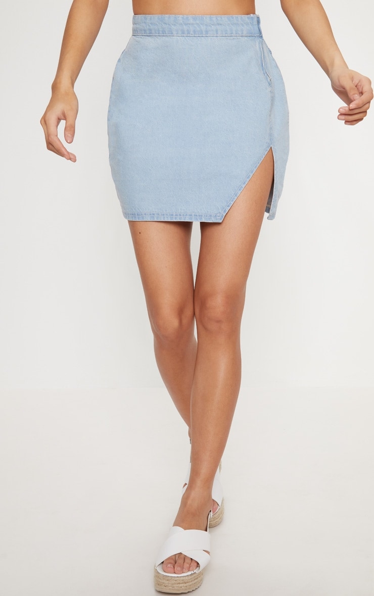 Light Wash Extreme Split Denim Mini Skirt 3