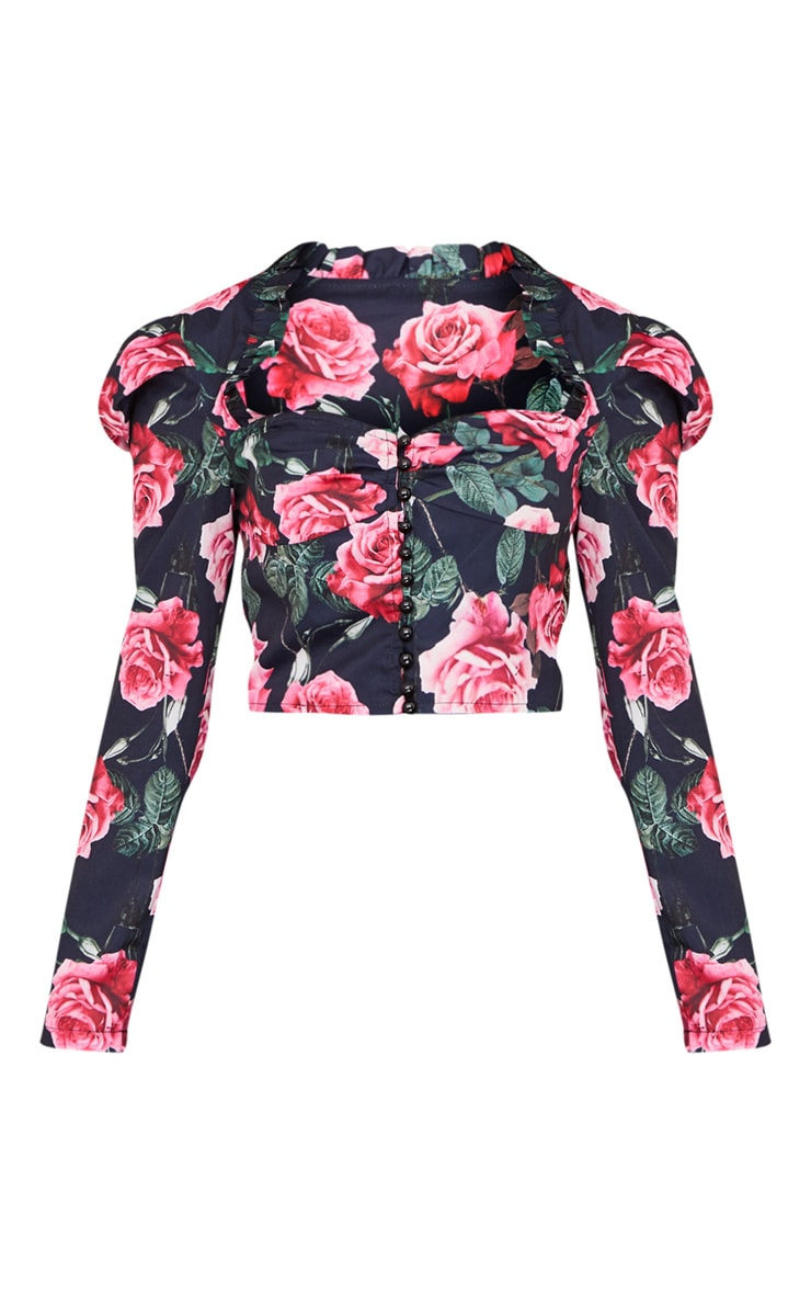 Navy Floral Printed Ruched Button Crop Top 5