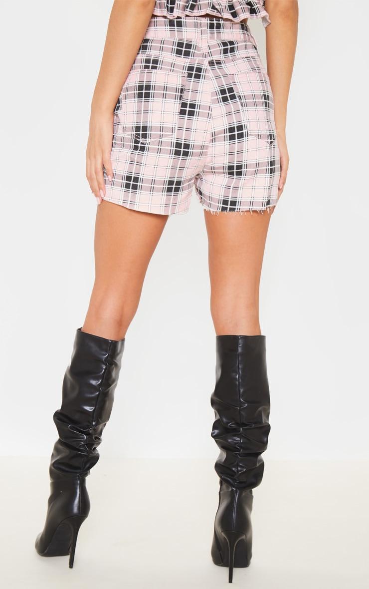 Pink Checked Denim Shorts 4