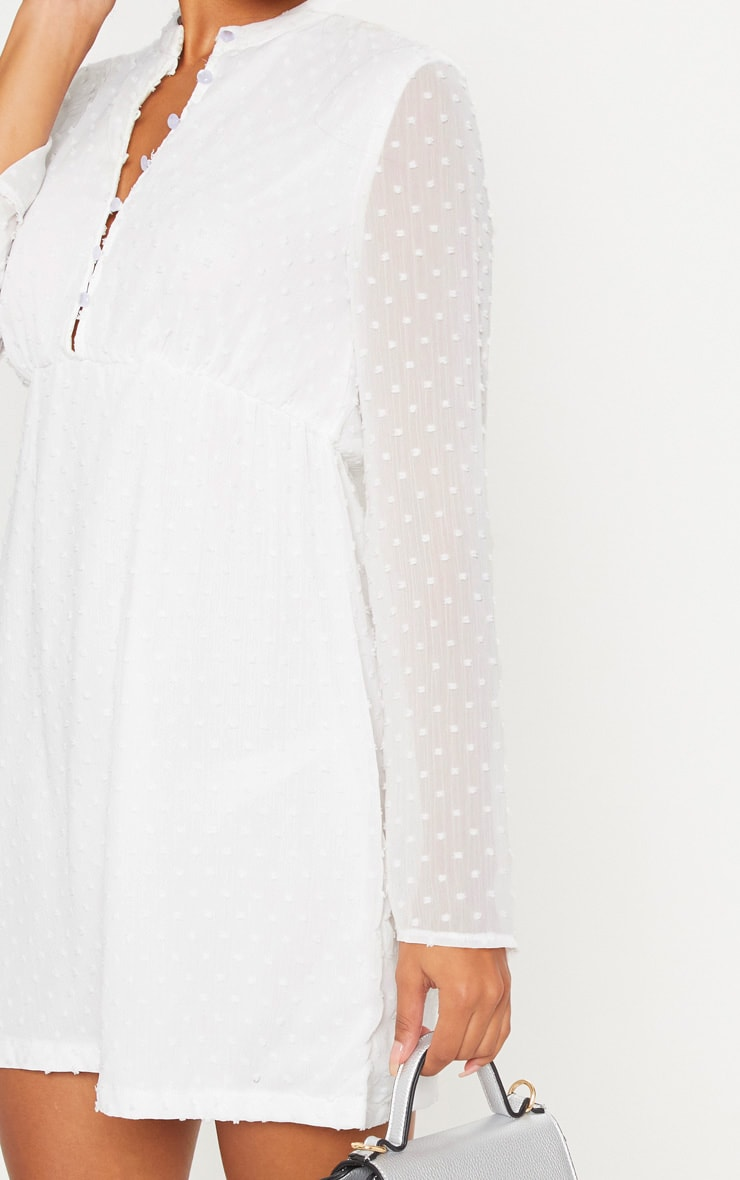 White Textured V Neck Skater Dress 5