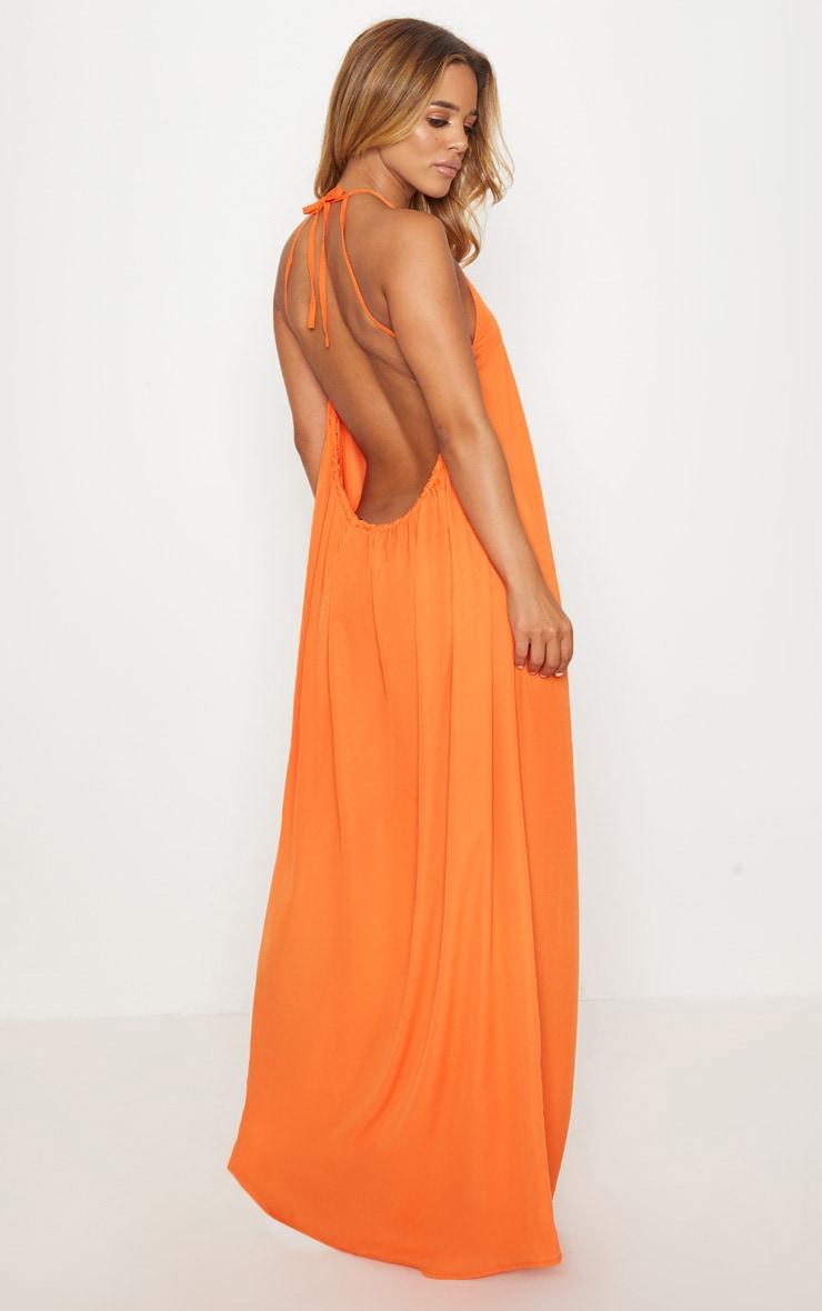 Petite Orange Halterneck Scoop Back Maxi Dress 2