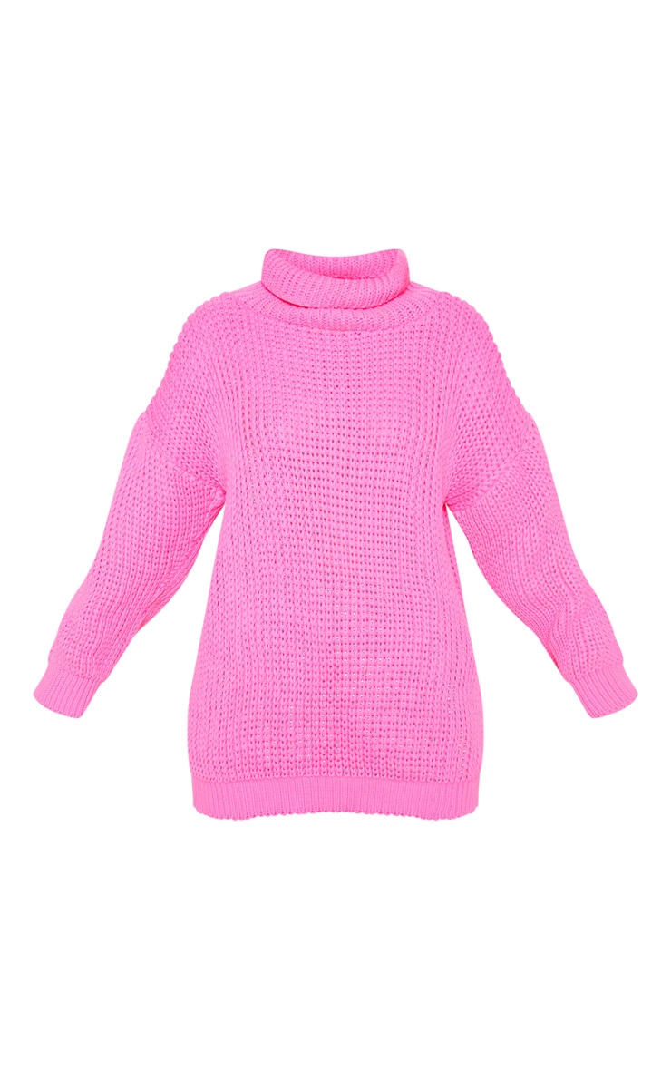 Petite  Hot Pink Roll Neck Oversized Chunky Knit Jumper 3