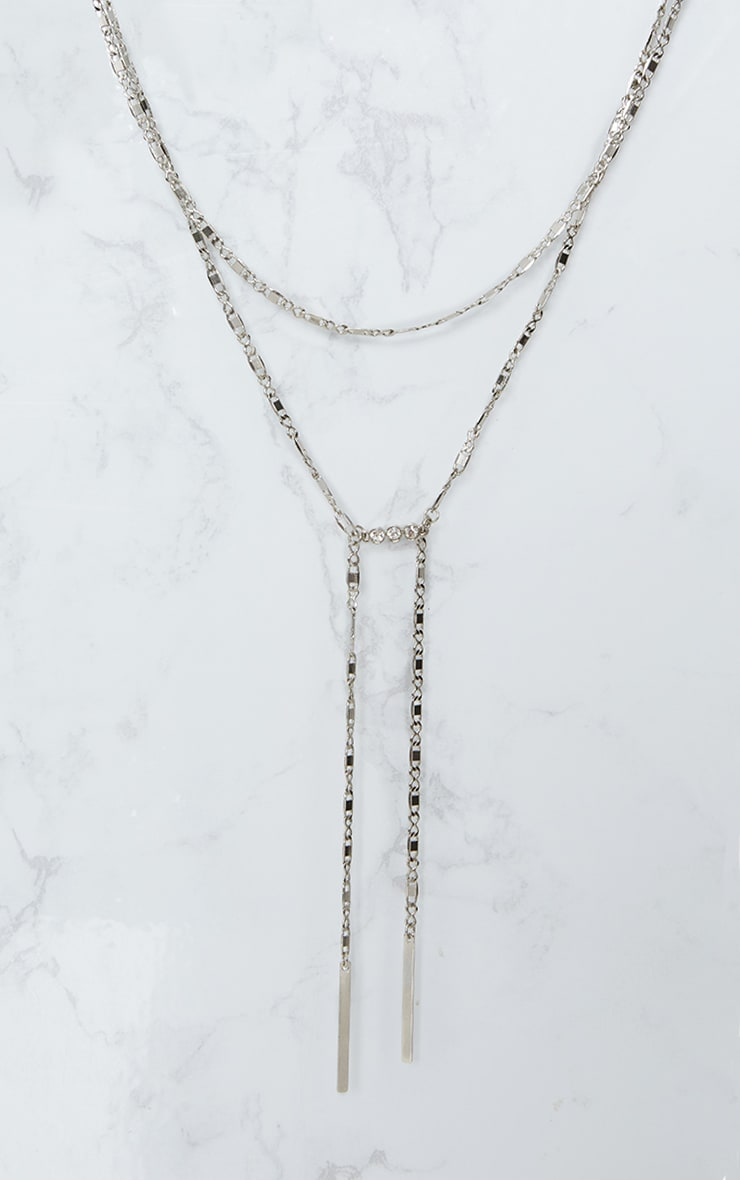 Silver Double Chain Drop Diamante Necklace 3