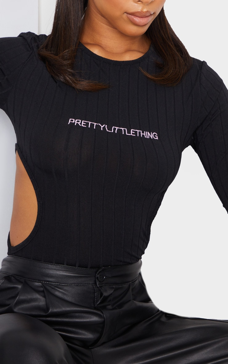 PRETTYLITTLETHING Black Embroidered Cut Out Rib Bodysuit 4