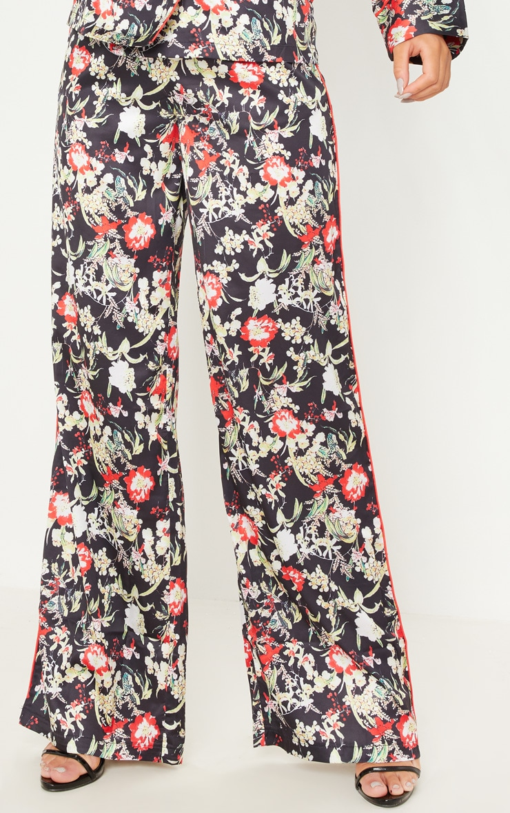 Multi Floral Satin Printed Wide Leg Trousers 2