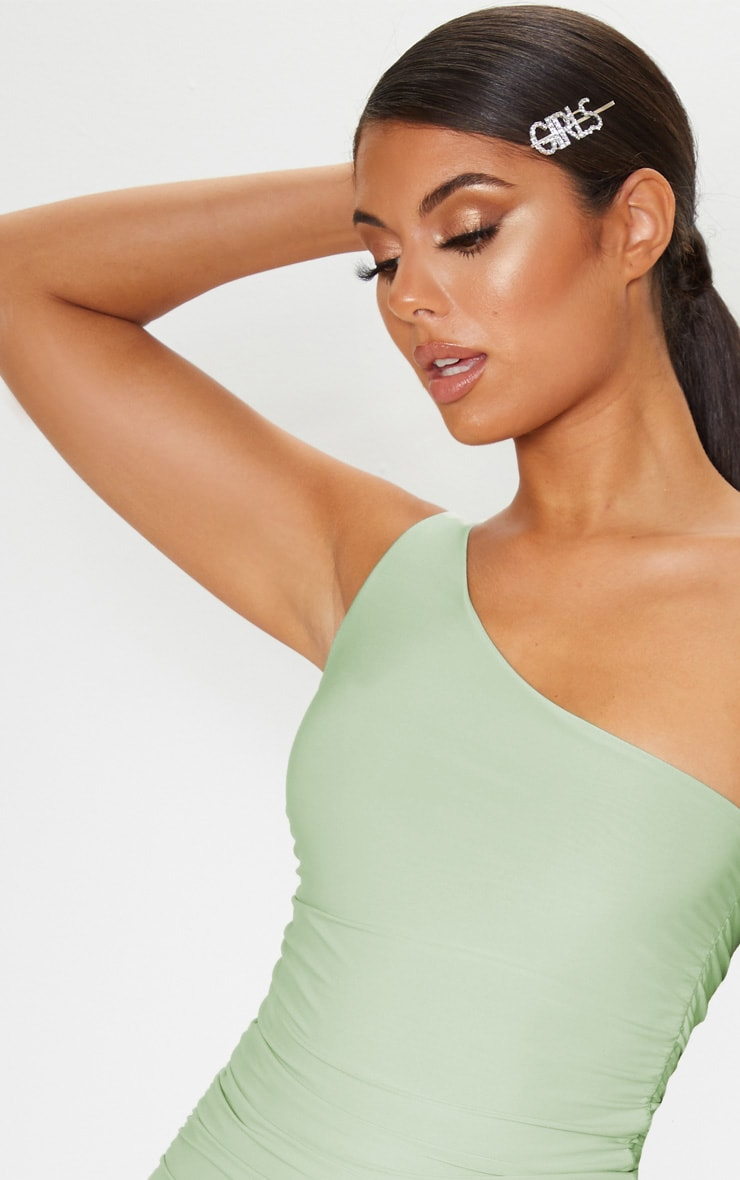 Sage Green Slinky One Shoulder Ruched Bodycon Dress 5