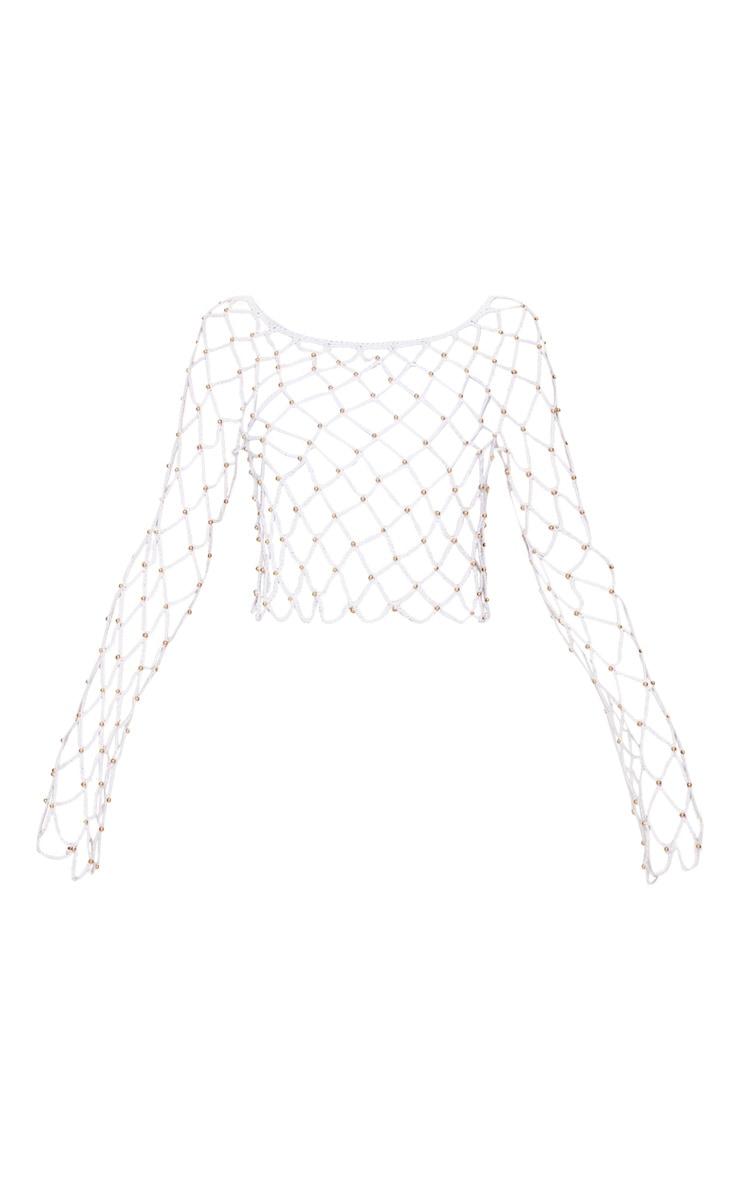 White Crochet Beaded Long Sleeve Top 3