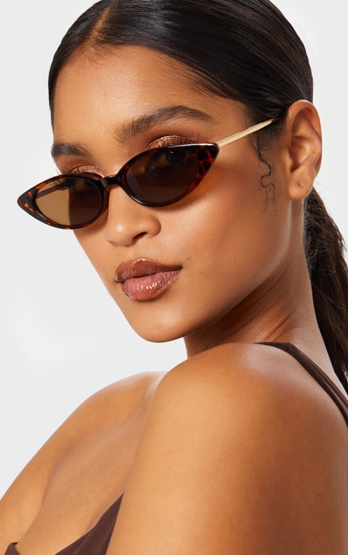Brown Tortoiseshell Cat Eye Retro Frame Sunglasses 1