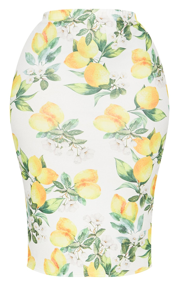 Plus White Lemon Print Midi Skirt 3