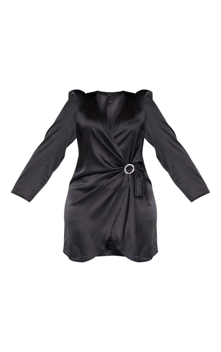 Plus Black Satin Wrap Diamante Buckle Shift Dress 3