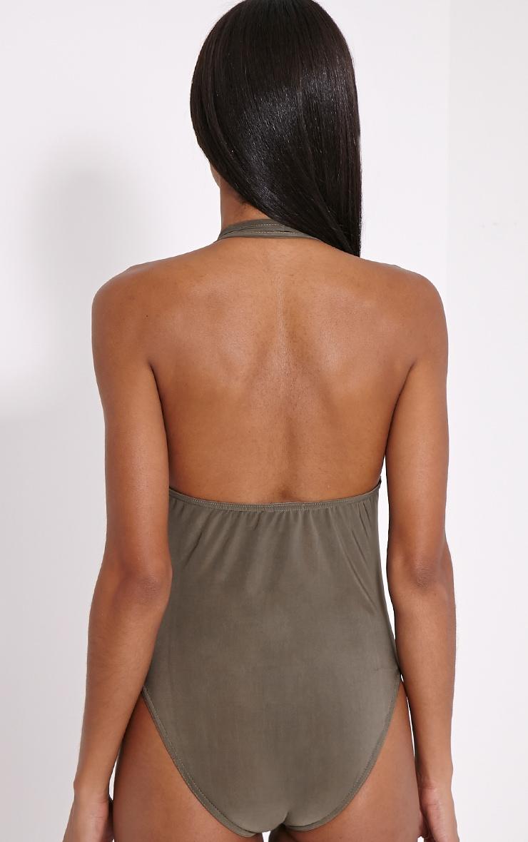 Fleur Khaki Zip Front Bodysuit 4