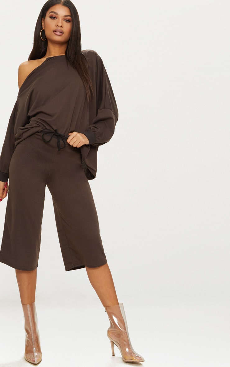 Brown Oversized Sweater Shorts  1