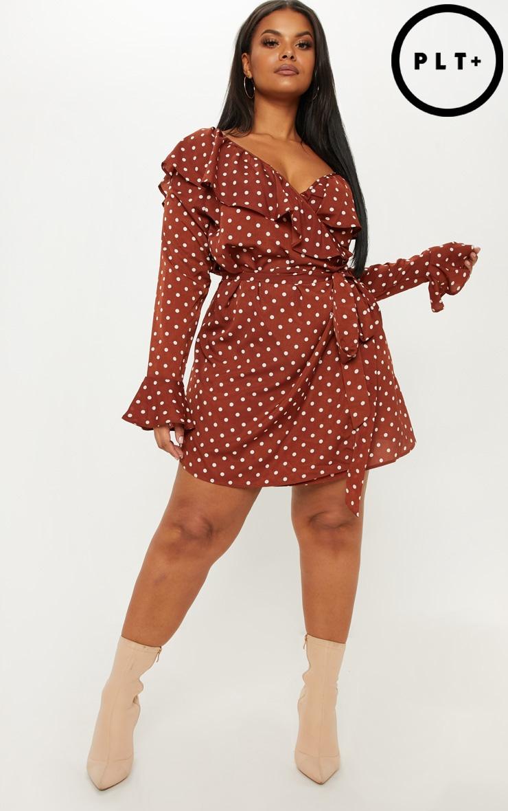 Plus Chocolate Brown Polka Dot Frill Detail Wrap Dress