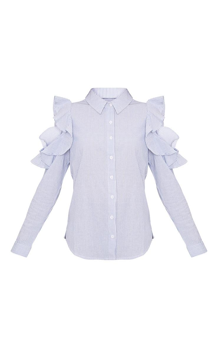Caleigh Blue Cotton Stripe Frill Open Shoulder Shirt 3