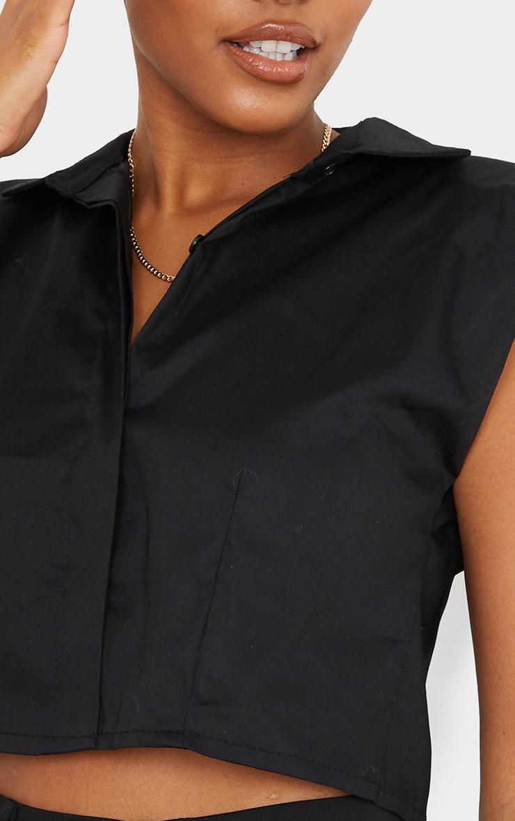 Black Woven Shoulder Pad Cropped Sleeveless Shirt 4