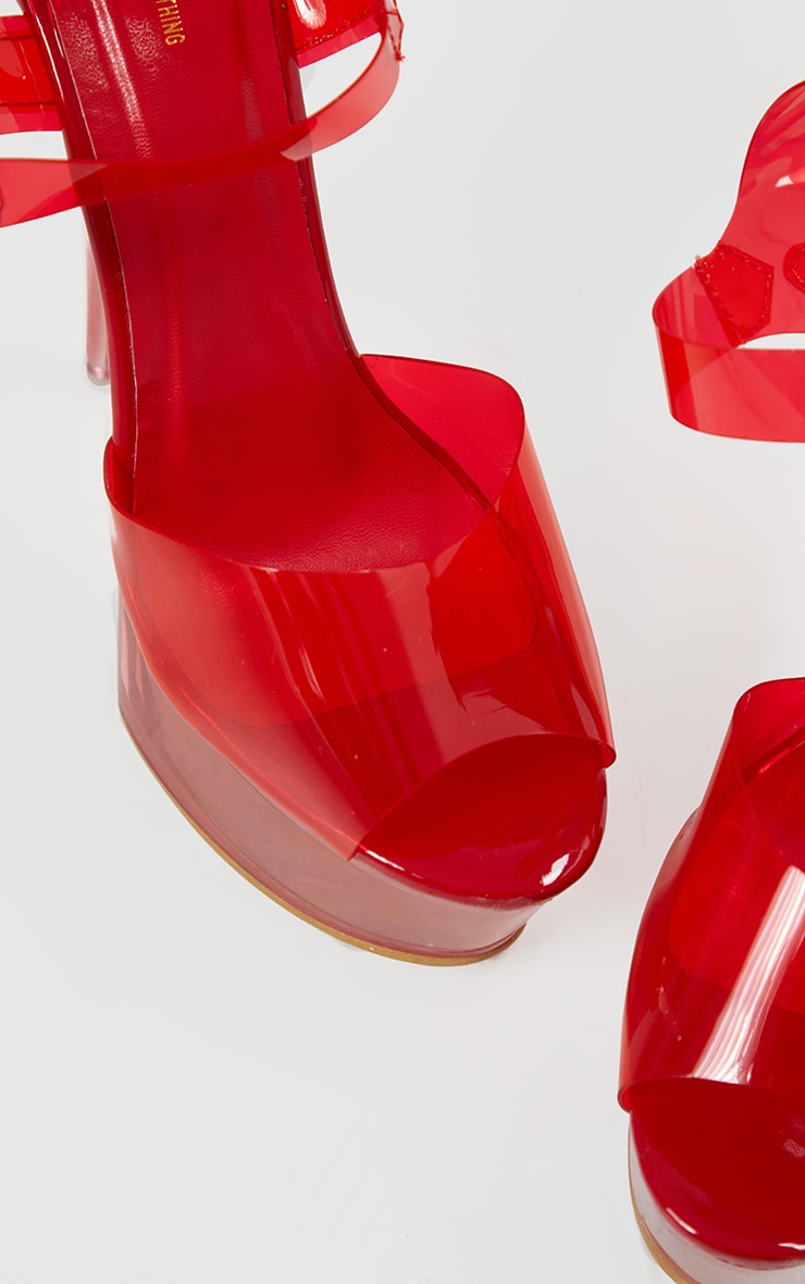 Red Extreme Clear Platform Sandals 4