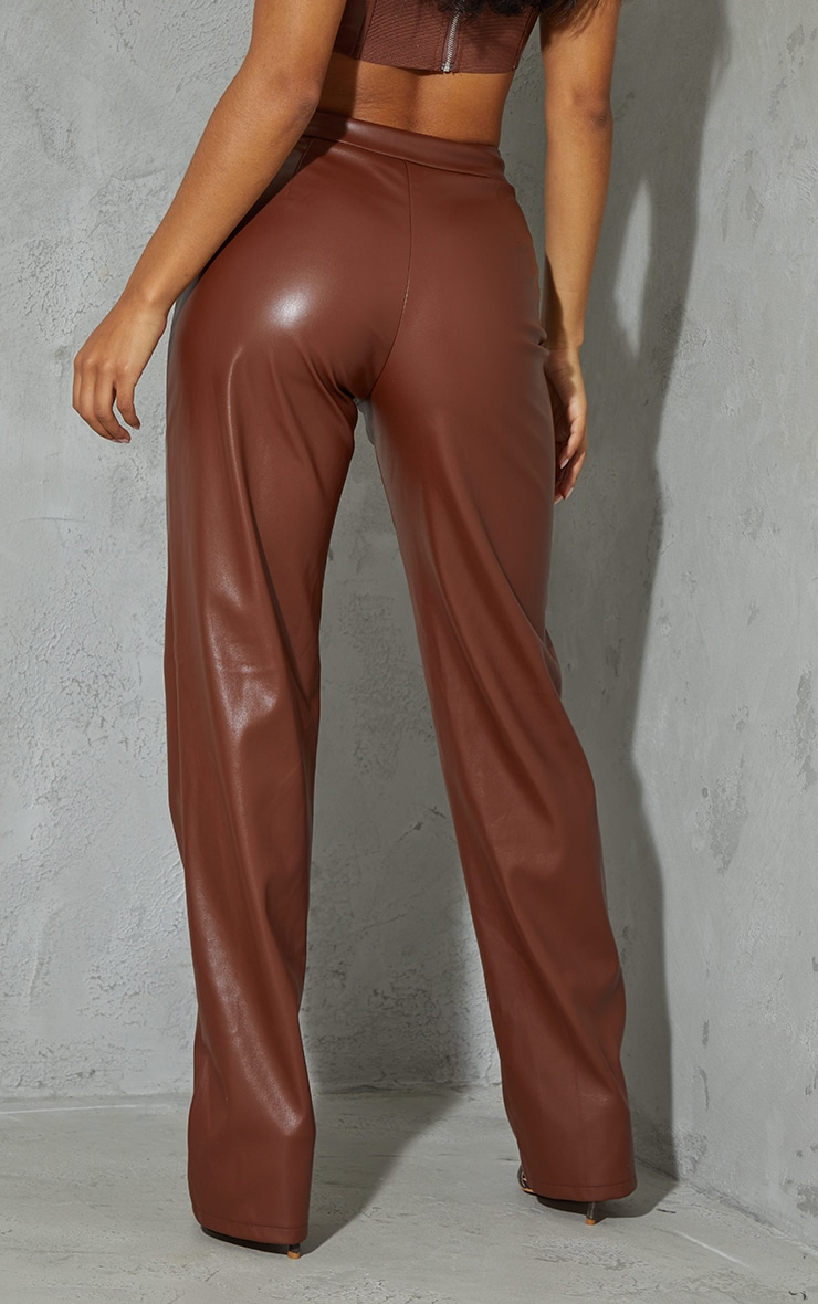 Chocolate Brown Faux Leather High Waisted Straight Leg Pants 3
