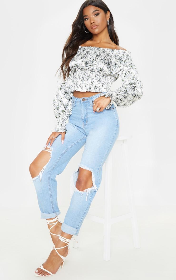 White Floral Printed Shirred Bardot Long Sleeve Crop Top 4