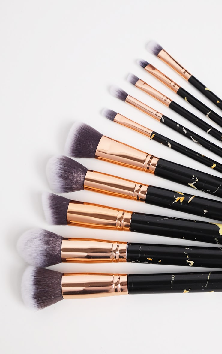 10 Piece Black Marble Effect Makeup Brush Set 2