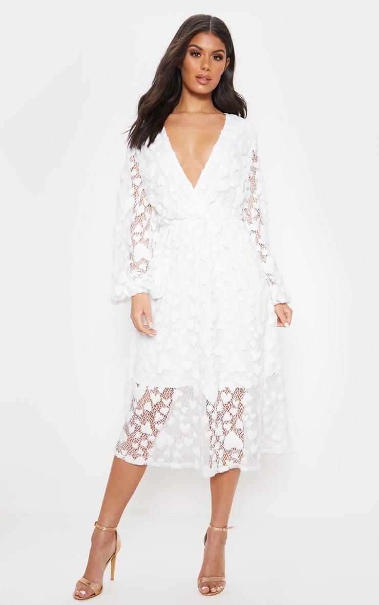 68302867bd4a3 White Heart Pattern Net Midi Dress | Dresses | PrettyLittleThing
