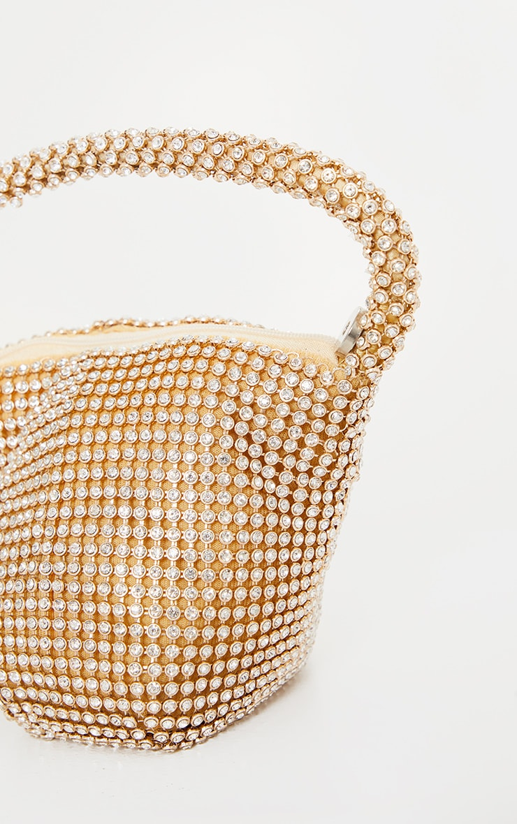 Gold Diamante Chainmail Pouch Bag 3