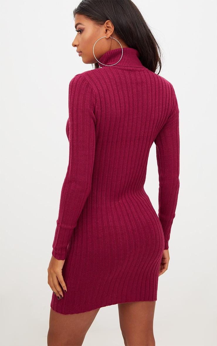 Burgundy Rib Roll Neck Dress 2