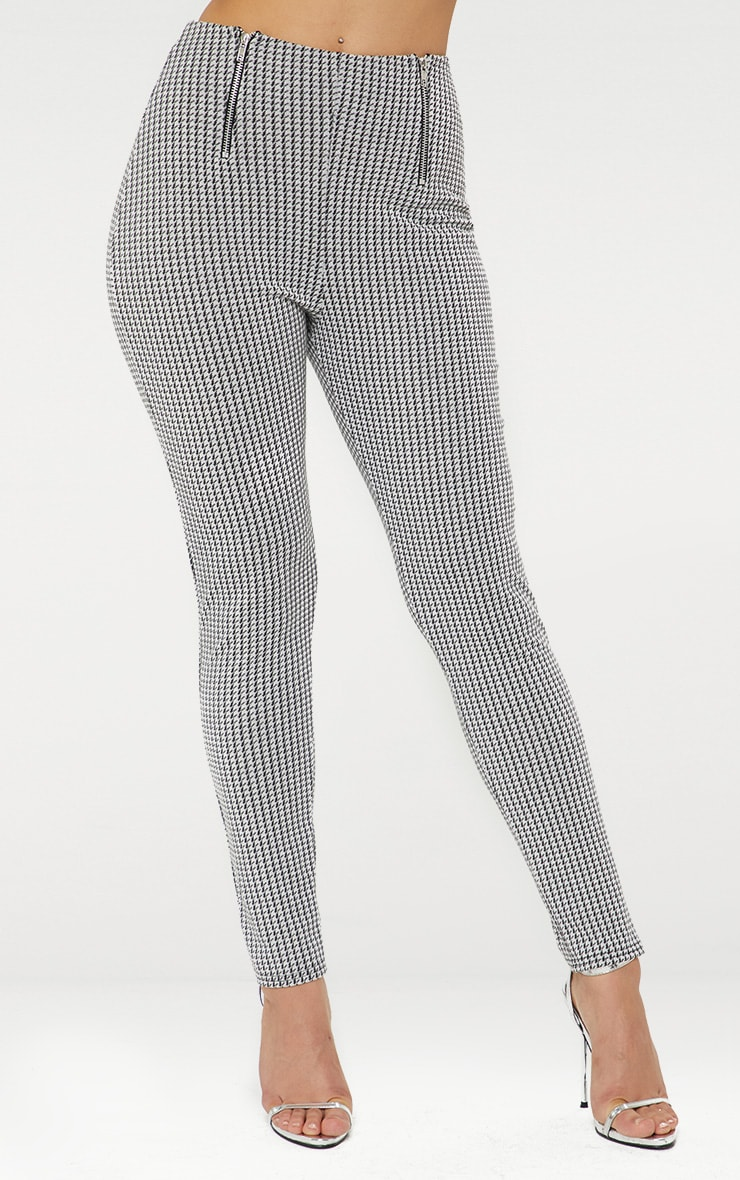 Black Dogtooth Double Zip Skinny Trousers  2