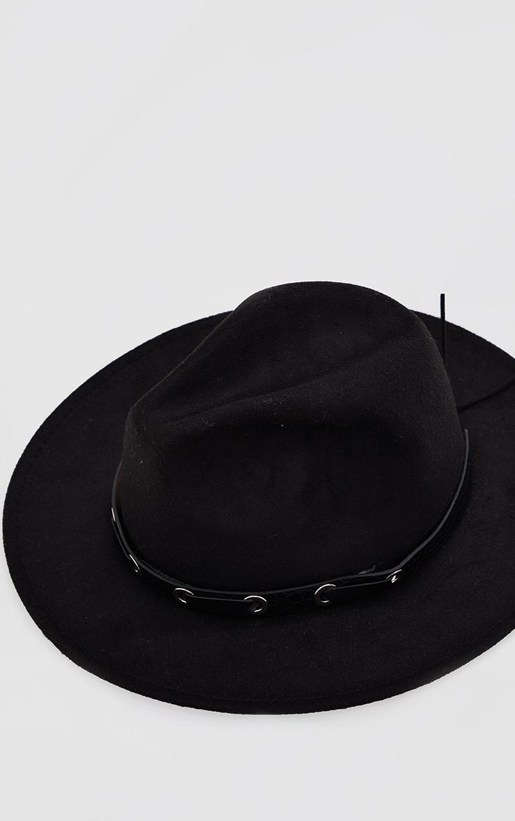 Black PU Snake Trim Fedora Hat 2