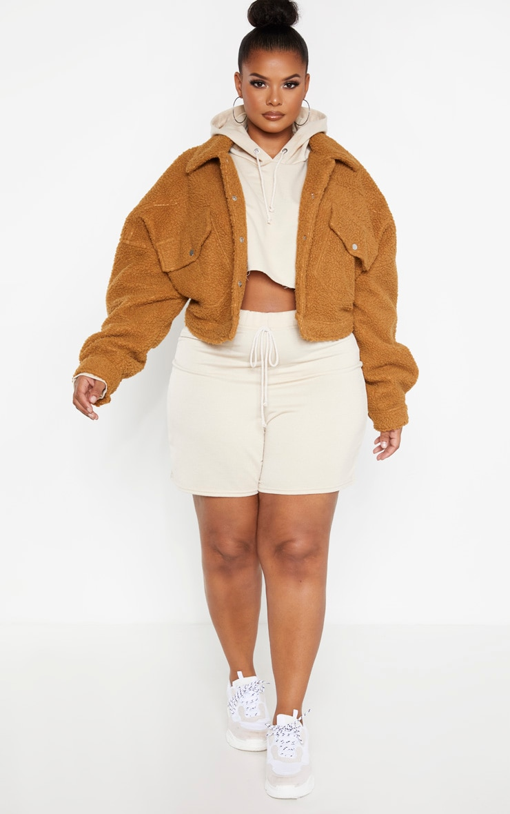 Plus Camel Cropped Borg Trucker Jacket 4