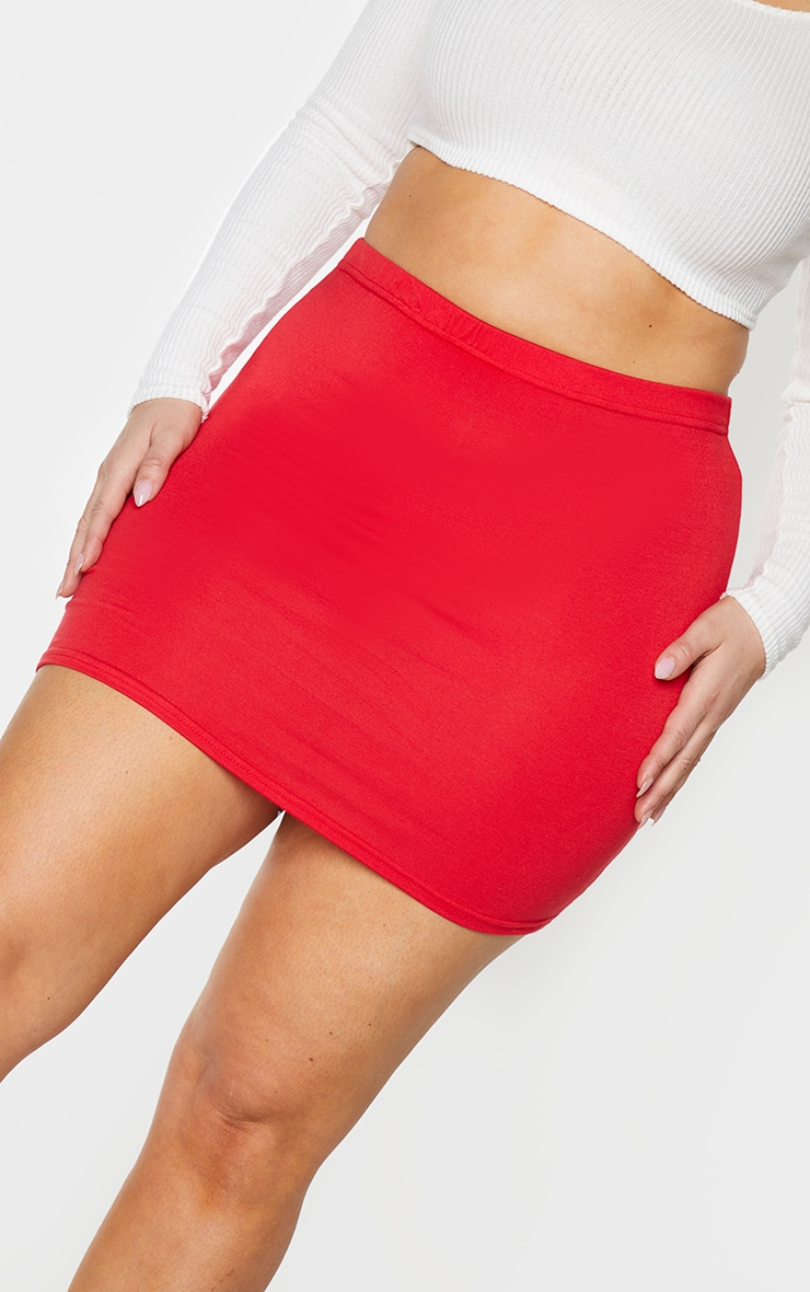 Plus Basic Jersey Red Mini Skirt 5
