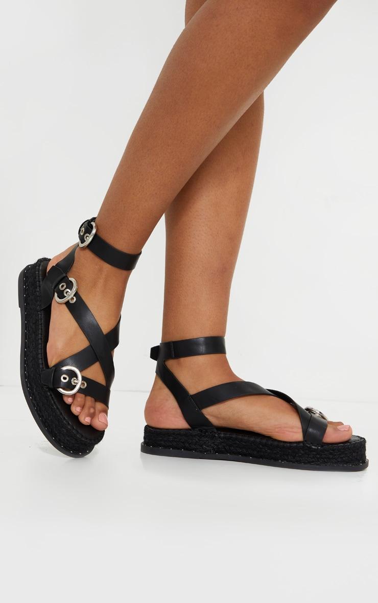 Black Espadrille Flatform Gladiator Sandals 1