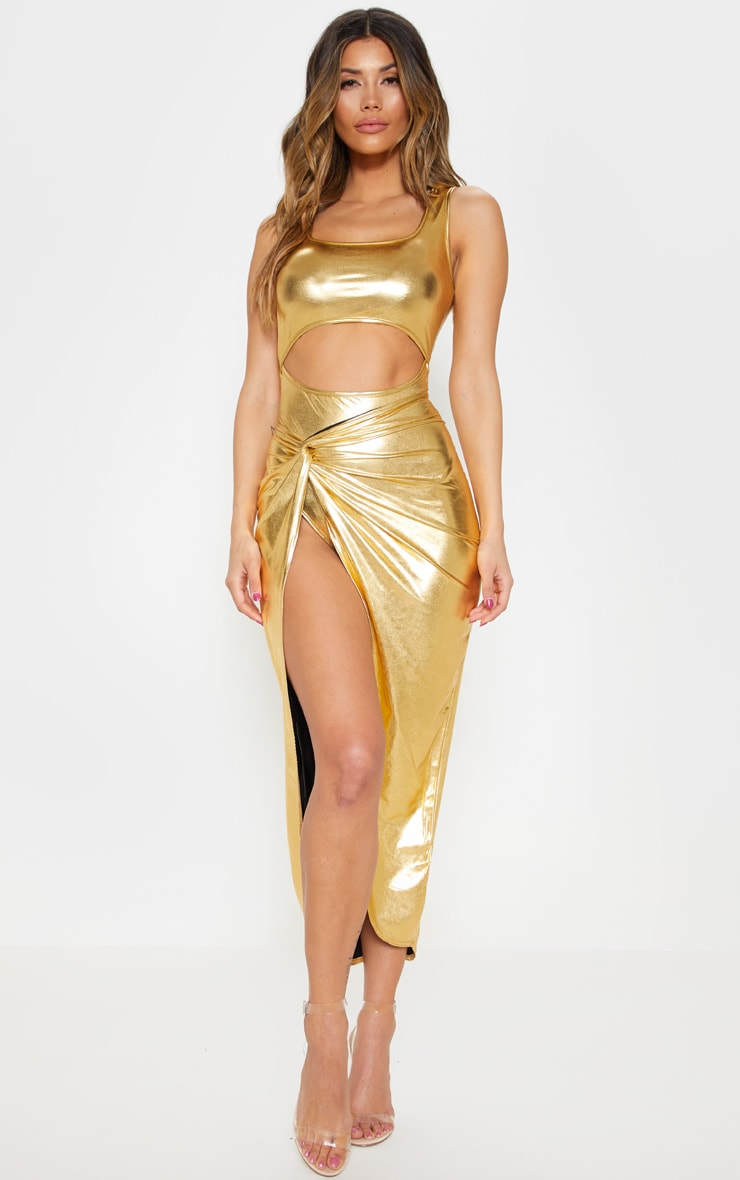 Gold Metallic Slinky Square Neck Cut Out Bodysuit 4