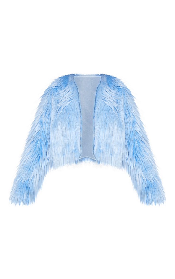 Blue Cropped Shaggy Faux Fur Jacket 3