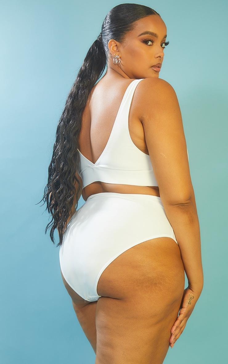 Recycled Plus White Mix & Match Plunge Bikini Top 2