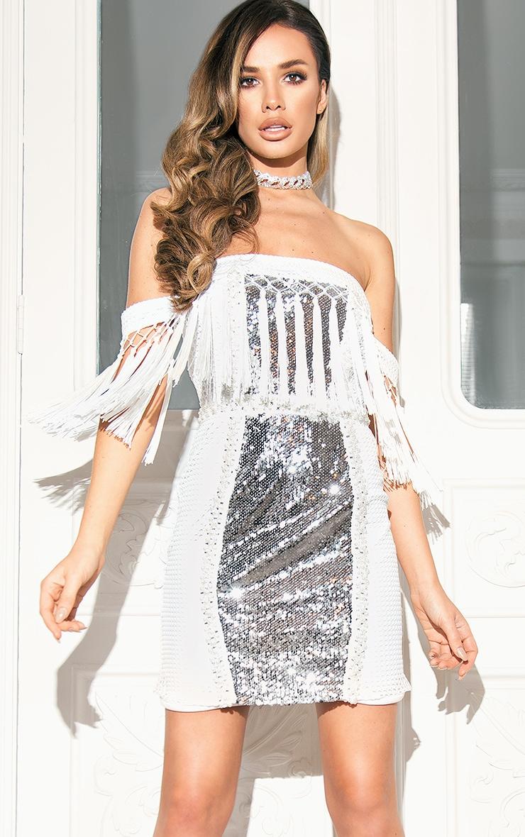 Carlucia White Premium Sequin Tassel Bardot Mini Dress 1