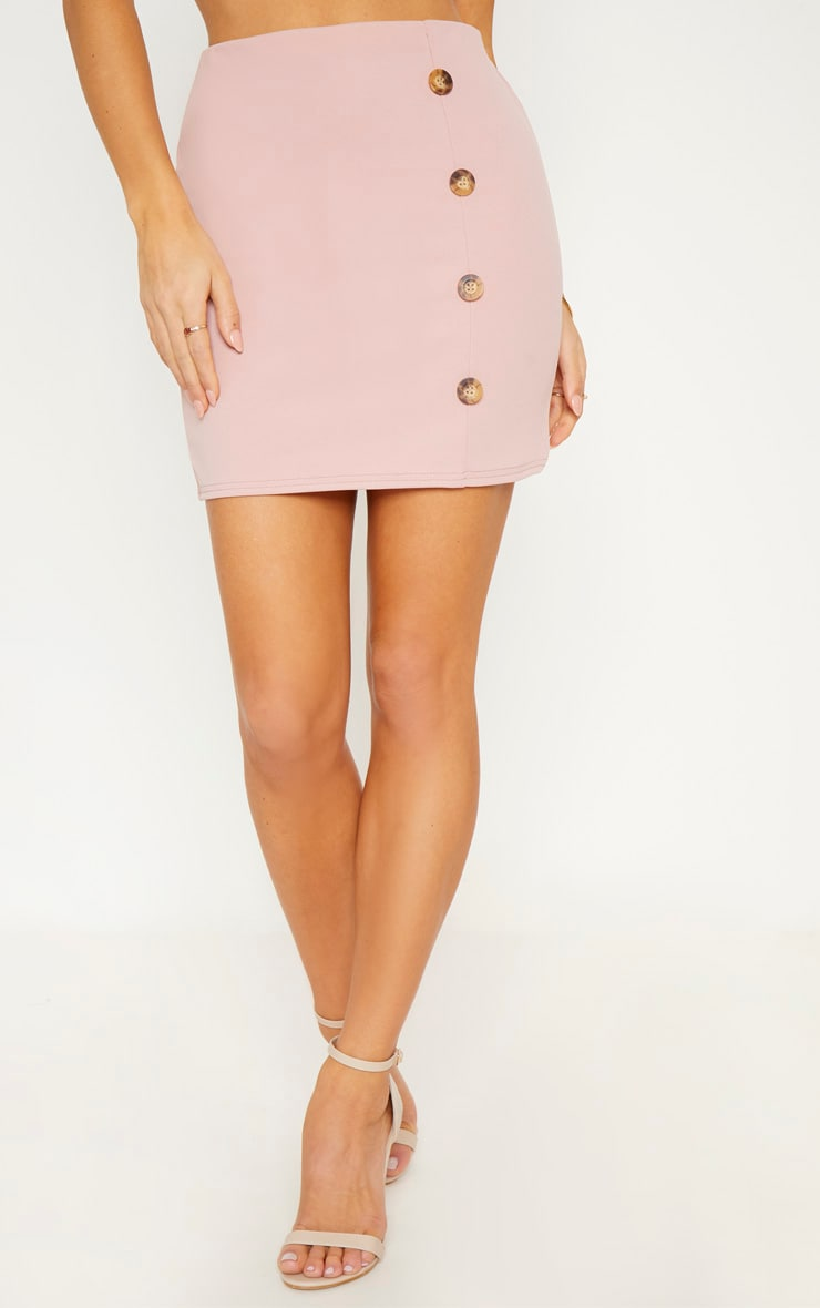 Blush Crepe Button Detail Mini Skirt 2