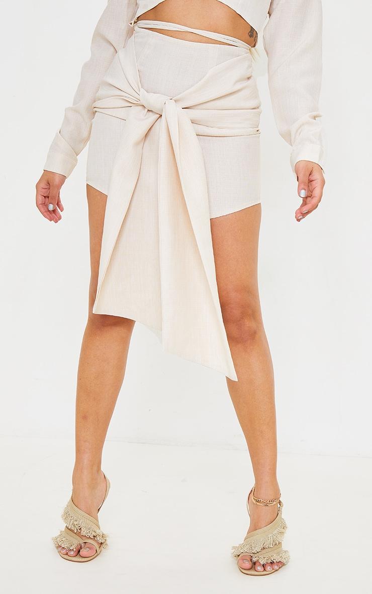 Petite Ecru Wrap Over Bodycon Skirt 2