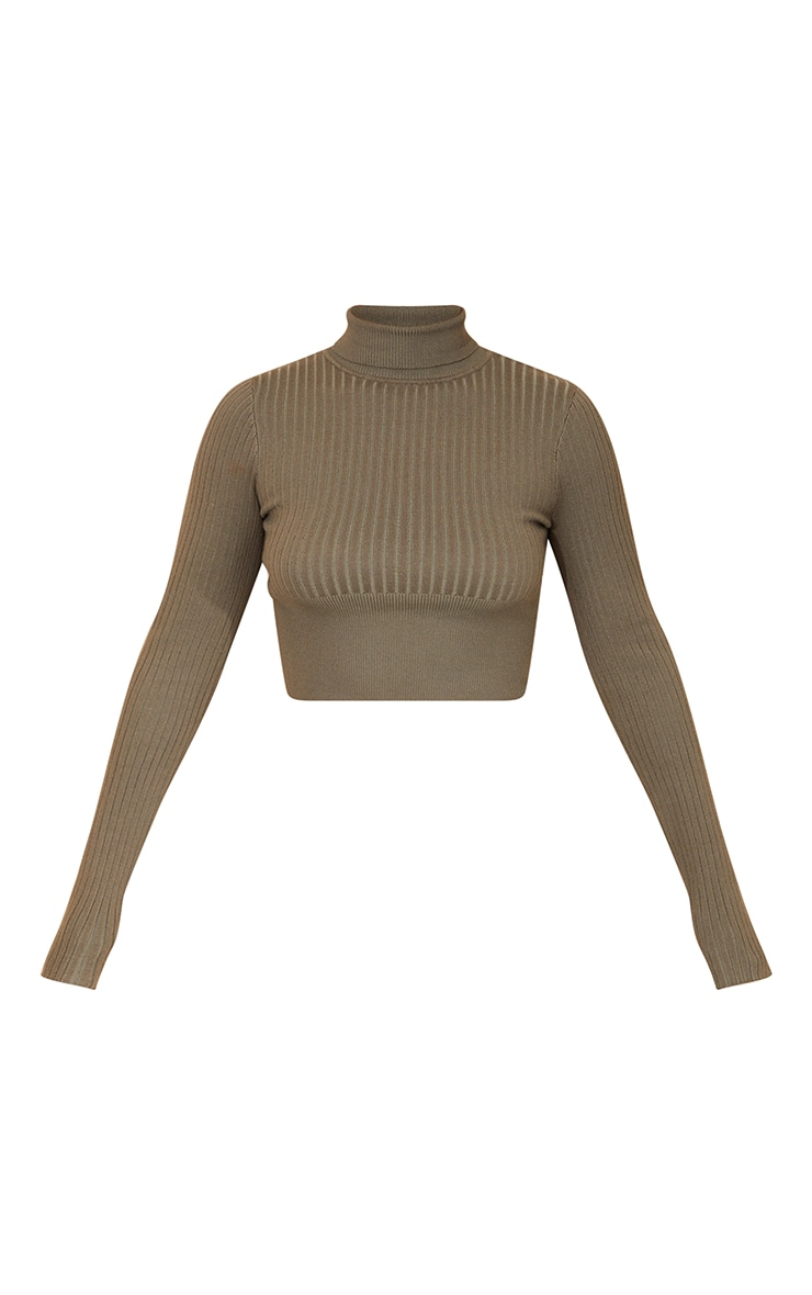 Khaki Ribbed Knit Roll Neck Cropped Jumper 5