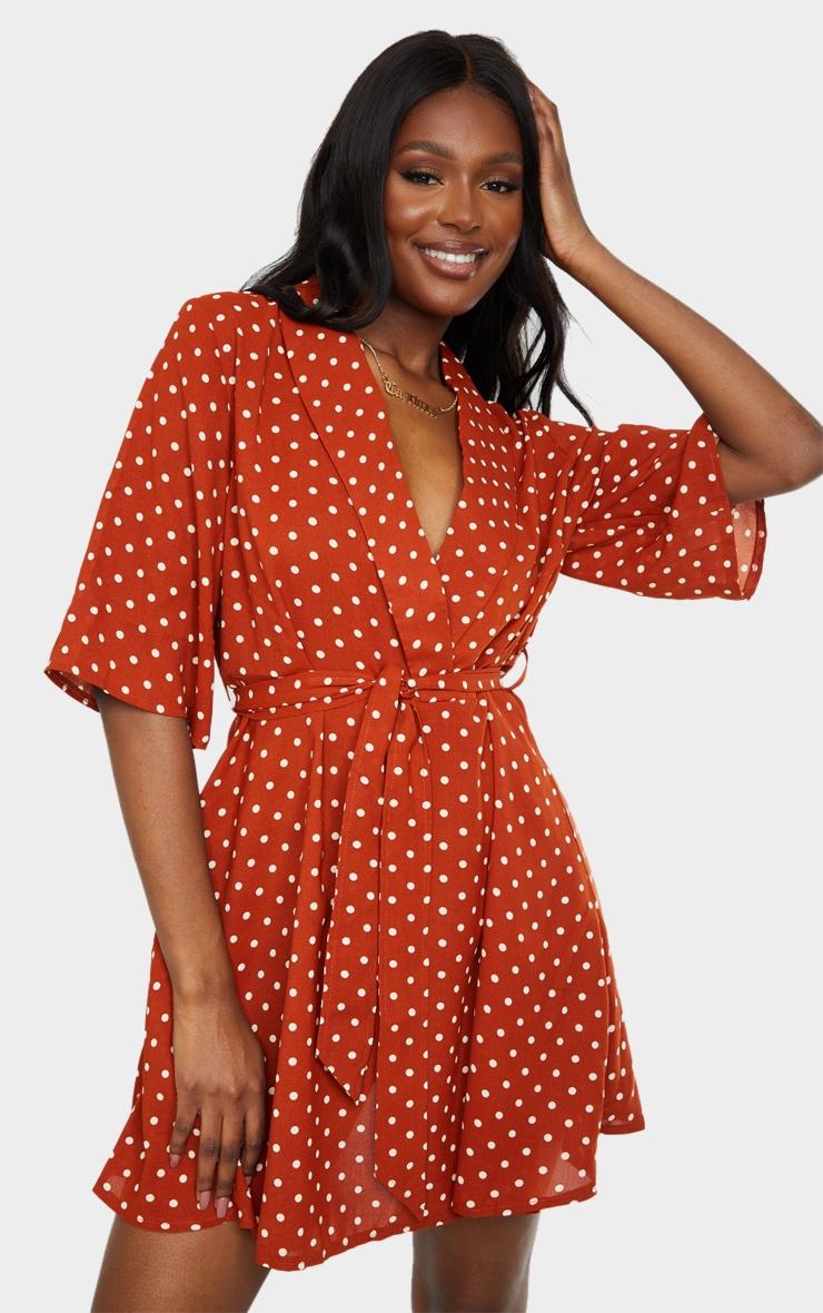 Tall Terracotta Polka Dot Tea Dress 1