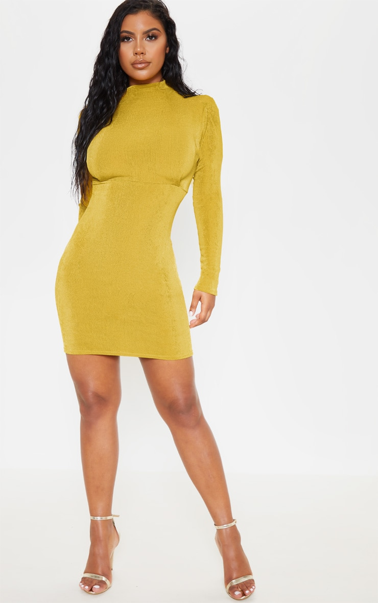 Chartreuse Textured Slinky Long Sleeve High Neck Ruched Back Bodycon Dress 4