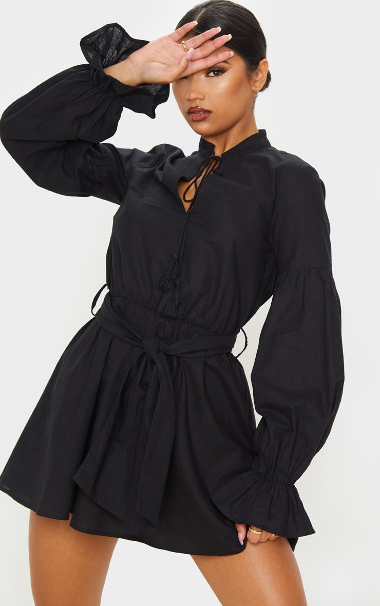 Black Balloon Sleeve Tie Skater Dress 4