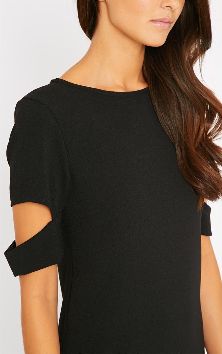 Nina Black Split Sleeve Waffle Shift Dress 5