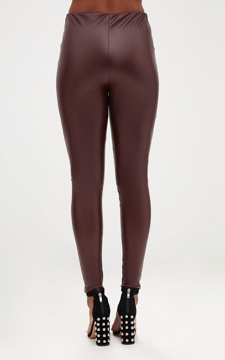 Burgundy Faux Leather Skinny Trousers 4